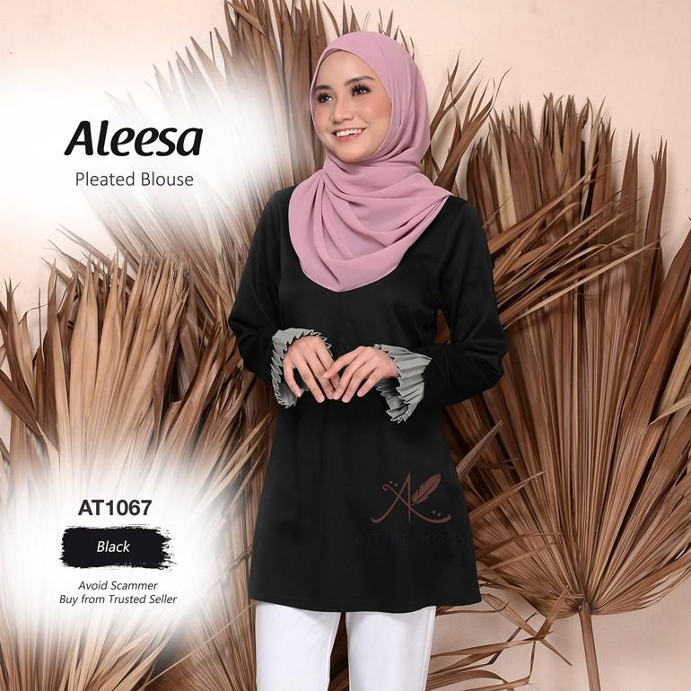 Aleesa Pleated Blouse AT1067 (Black)