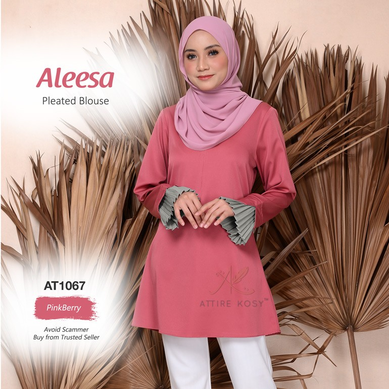 Aleesa Pleated Blouse AT1067 (PinkBerry)