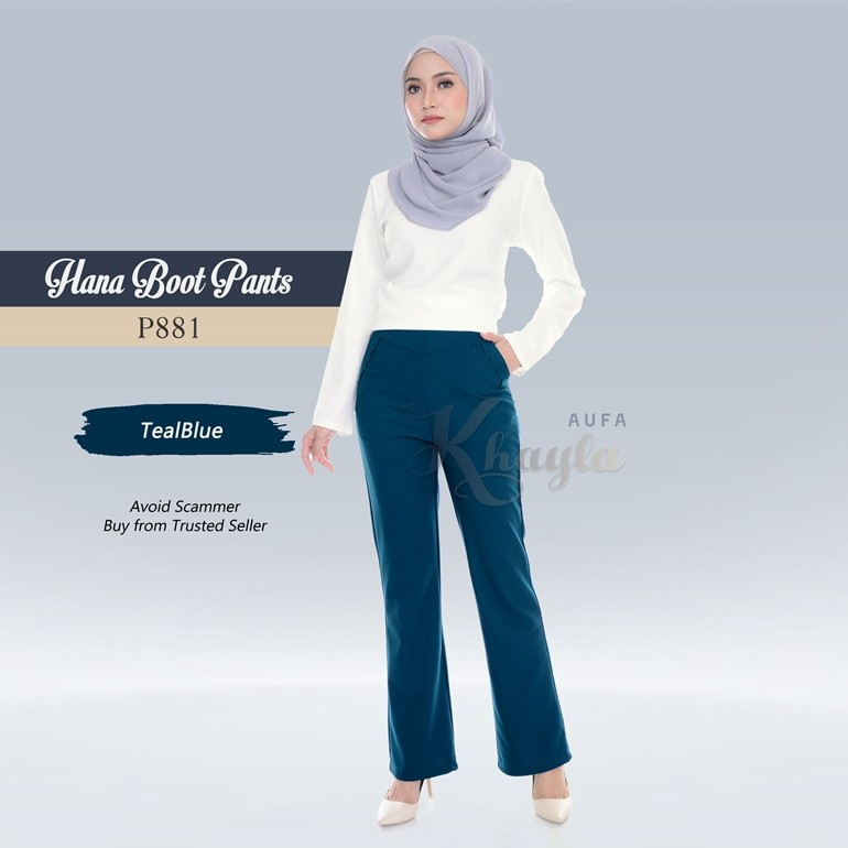 Hana Boot Pants P881 (TealBlue)