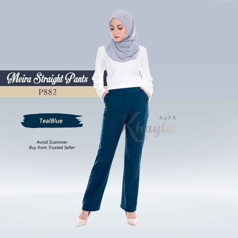 Meira Straight Pants  P882 (TealBlue)