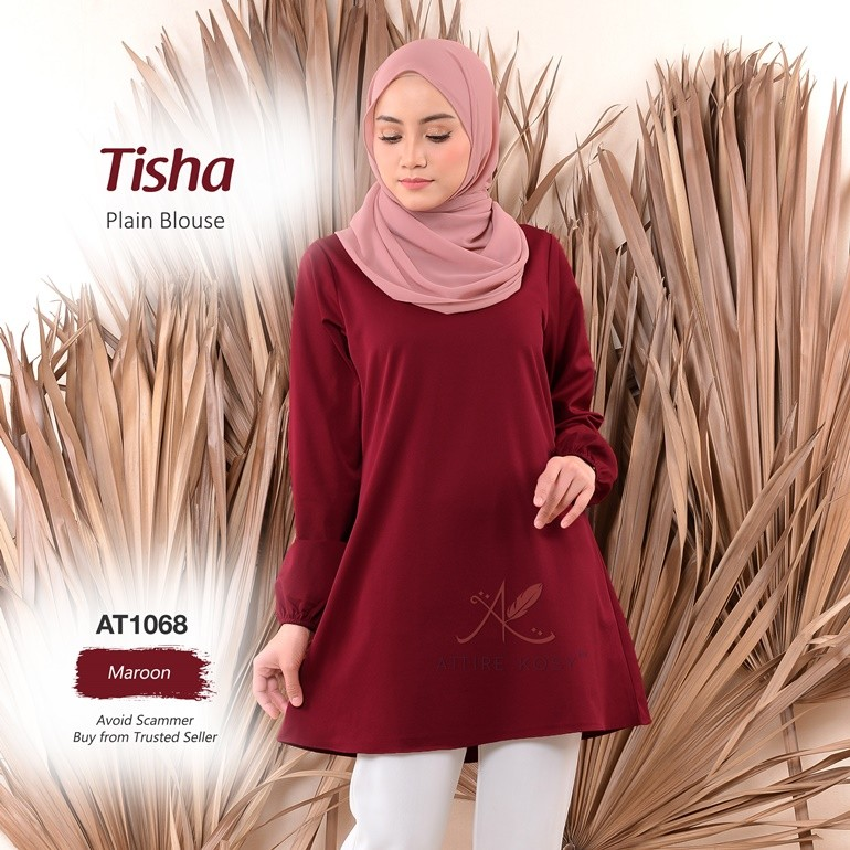 Tisha Plain Blouse AT1068 (Maroon)