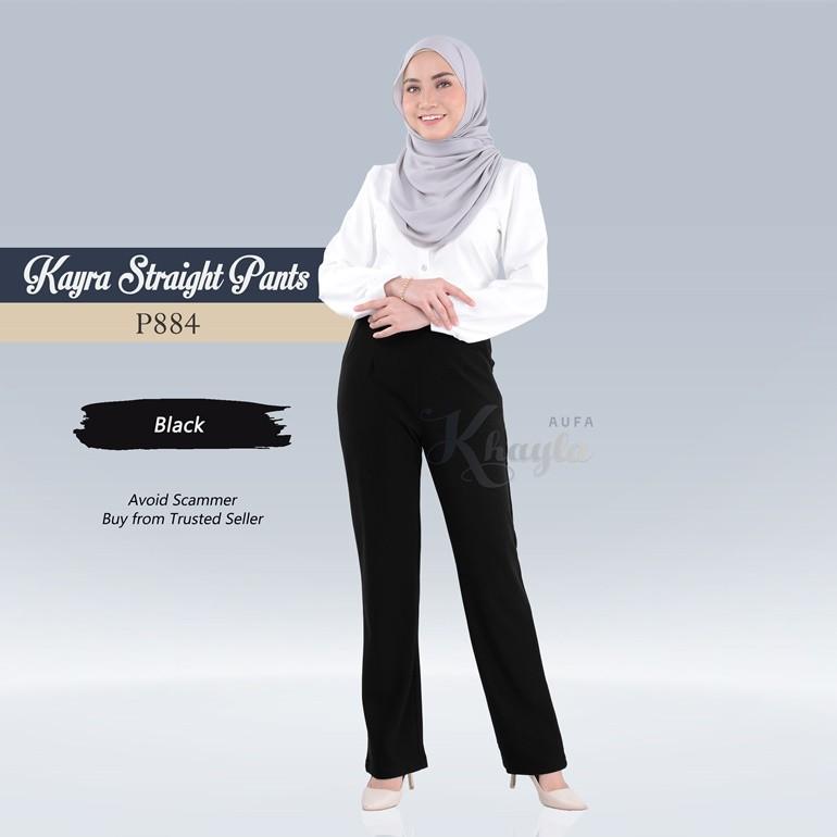 Kayra Straight Pants  P884 (Black)