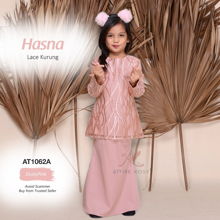 Hasna Lace Kurung AT1062A (DustyPink)
