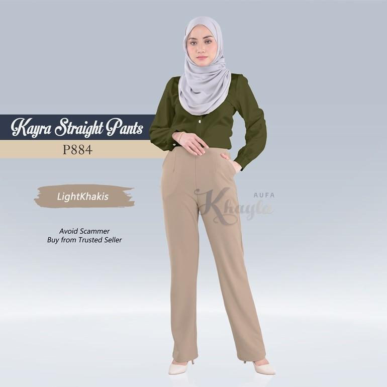 Kayra Straight Pants  P884 (LightKhakis)