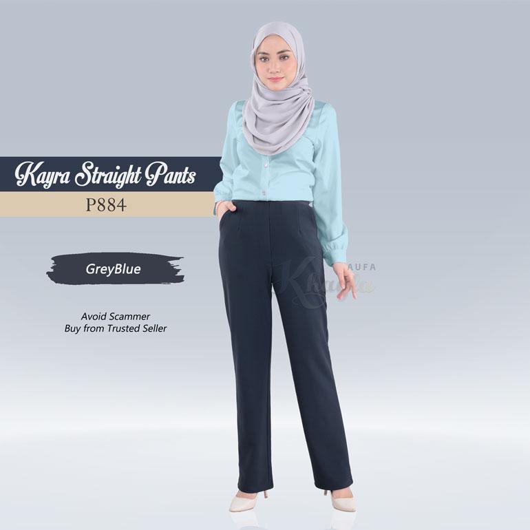 Kayra Straight Pants  P884 (GreyBlue)