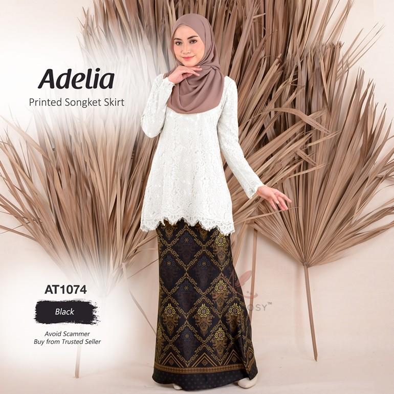 Adelia Printed Songket Skirt AT1074 (Black)