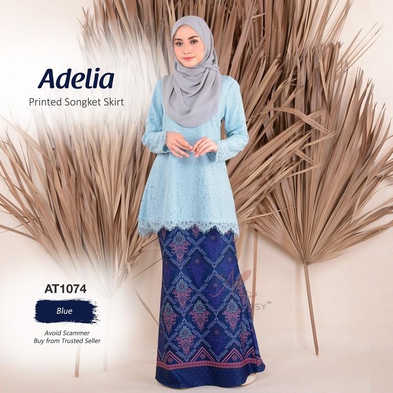 Adelia Printed Songket Skirt AT1074 (Blue)