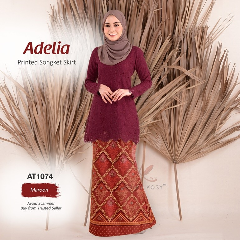 Adelia Printed Songket Skirt AT1074 (Maroon)
