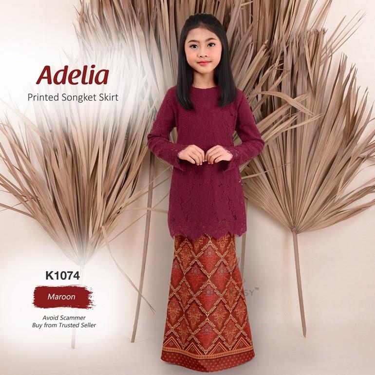 Adelia Printed Songket Skirt K1074 (Maroon)