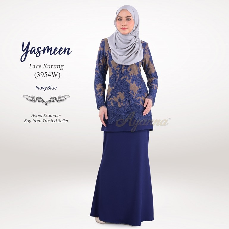 Yasmeen Lace Kurung 3954W (NavyBlue)