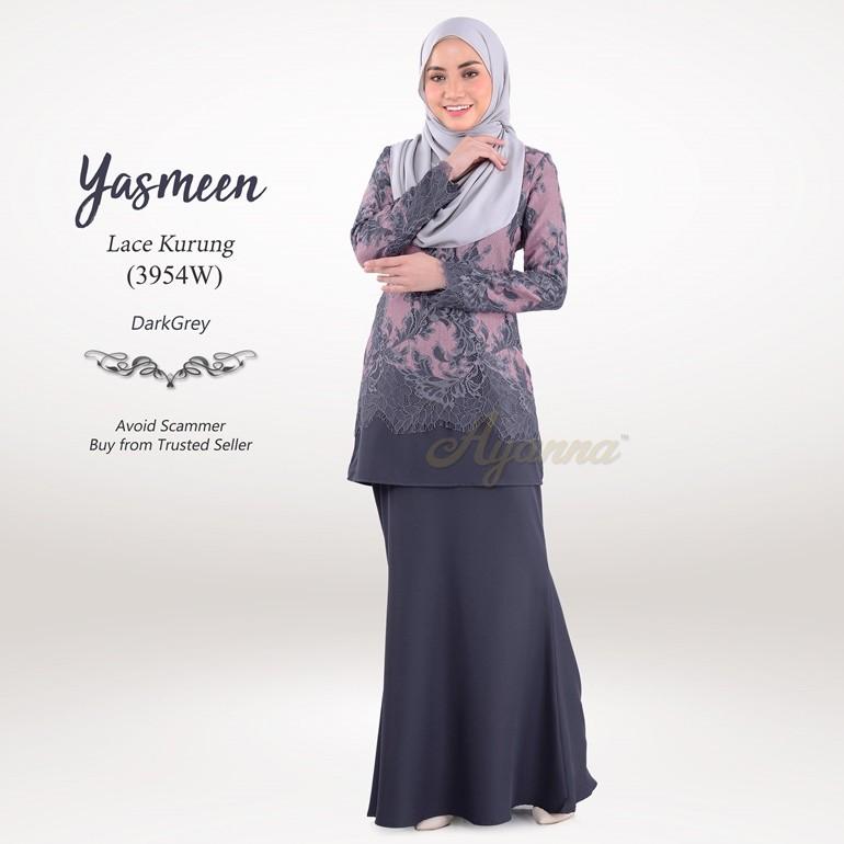 Yasmeen Lace Kurung 3954W (DarkGrey)