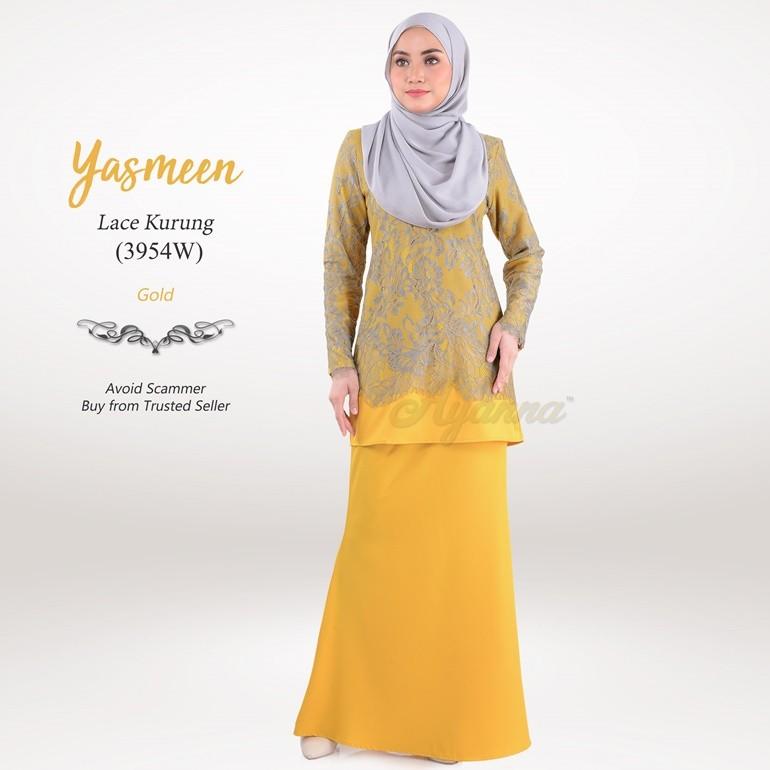 Yasmeen Lace Kurung 3954W (Gold)