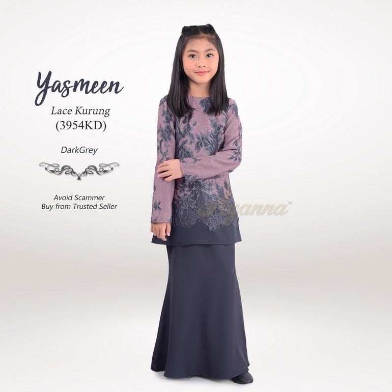 Yasmeen Lace Kurung 3954KD (DarkGrey)
