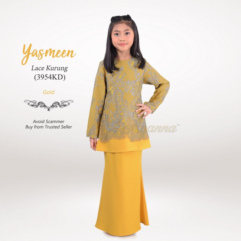 Yasmeen Lace Kurung 3954KD (Gold)