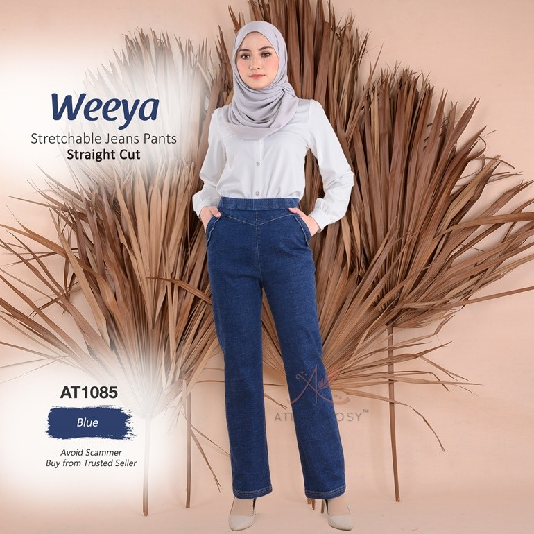 Weeya Stretchable Jeans Pants - Straight Cut  AT1085 (Blue)