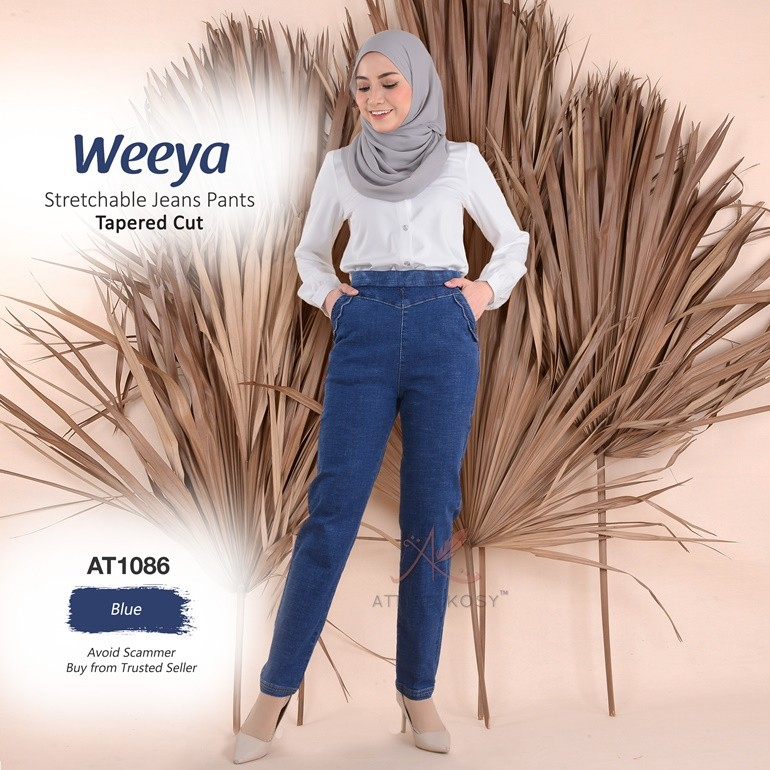 Weeya Stretchable Jeans Pants - Tapered Cut AT1086 (Blue)