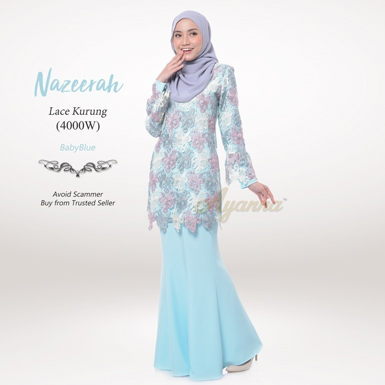 Nazeerah Lace Kurung 4000W (BabyBlue)