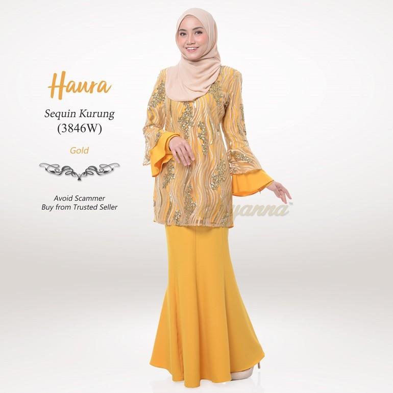 Haura Sequin Kurung 3846W (Gold)