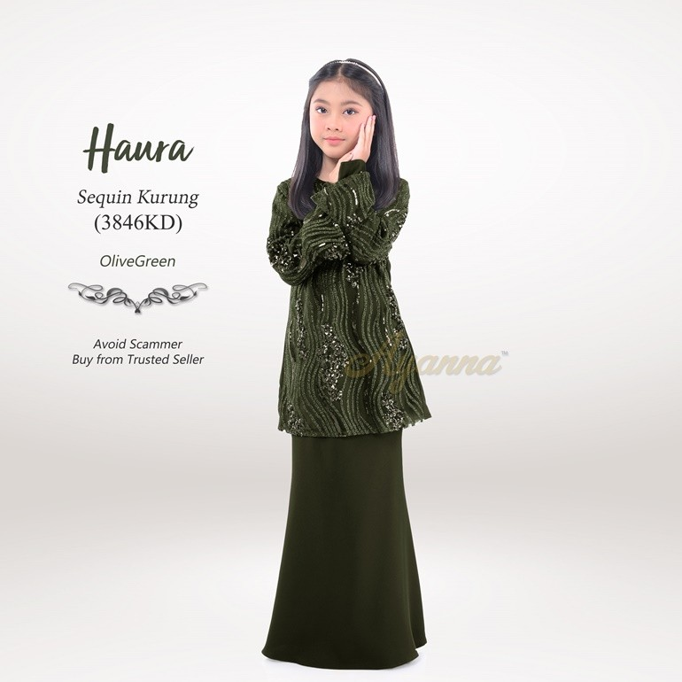 Haura Sequin Kurung 3846KD (OliveGreen)