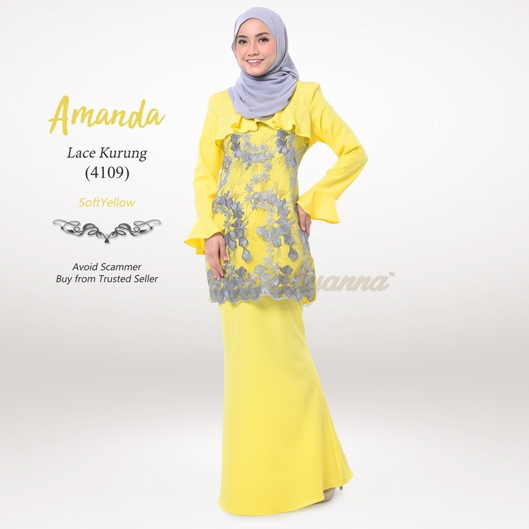 Amanda Lace Kurung 4109 (SoftYellow)