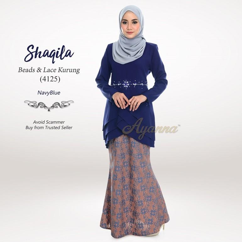 Shaqila Beads & Lace Kurung 4125 (NavyBlue)