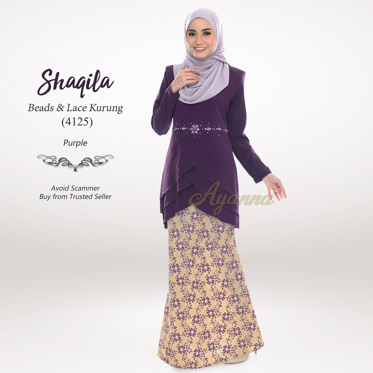 Shaqila Beads & Lace Kurung 4125 (Purple)