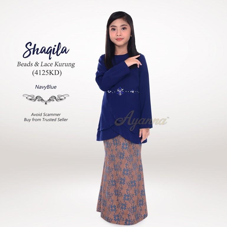 Shaqila Beads & Lace Kurung 4125KD (NavyBlue)