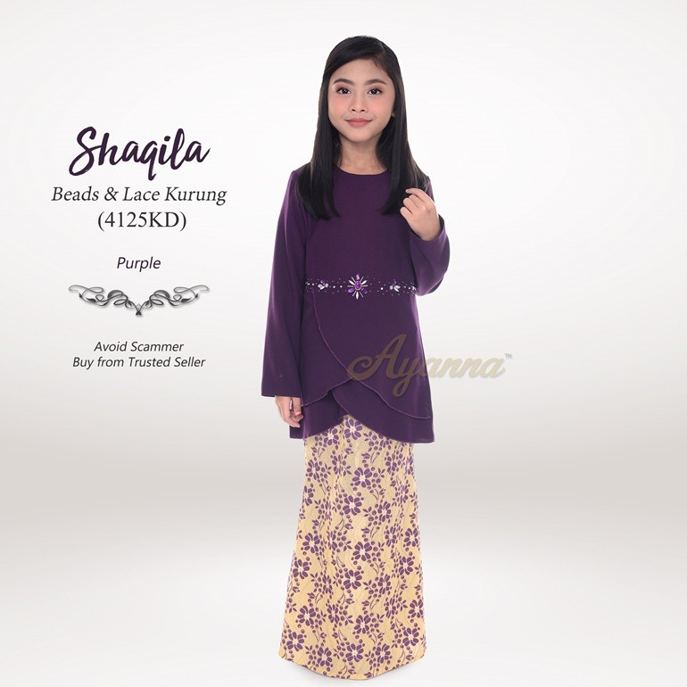 Shaqila Beads & Lace Kurung 4125KD (Purple)