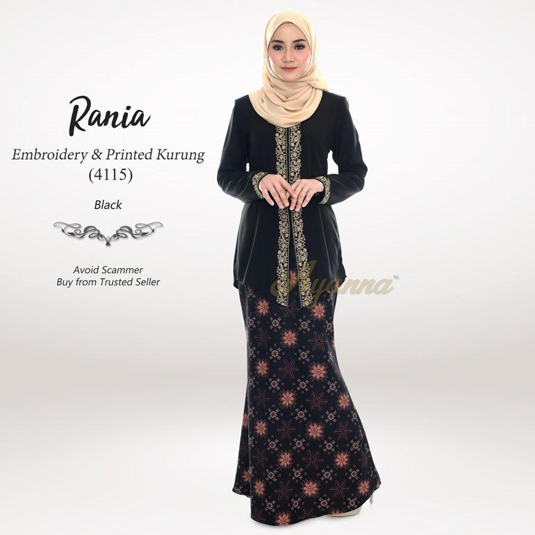 Rania Embroidery & Printed Kurung 4115 (Black)