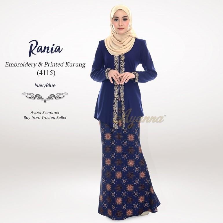 Rania Embroidery & Printed Kurung 4115 (NavyBlue)