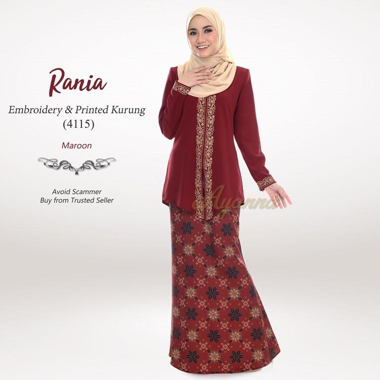 Rania Embroidery & Printed Kurung 4115 (Maroon)