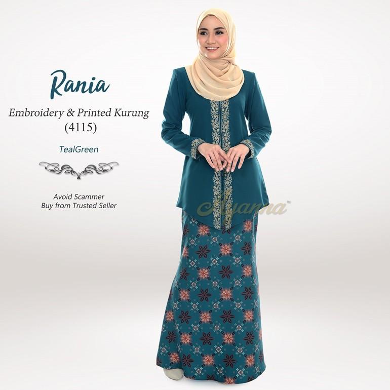 Rania Embroidery & Printed Kurung 4115 (TealGreen)