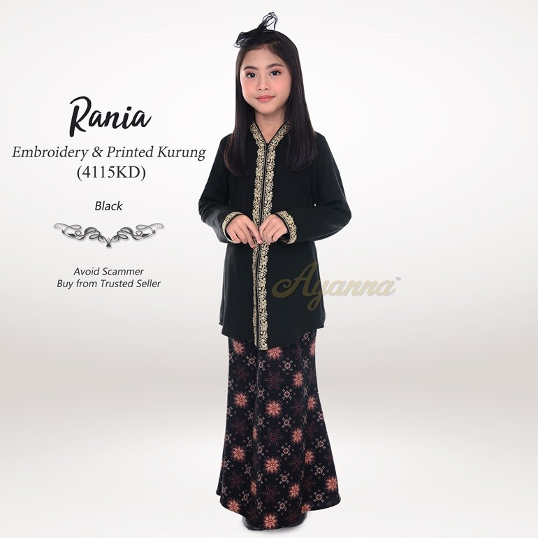 Rania Embroidery & Printed Kurung 4115KD (Black)