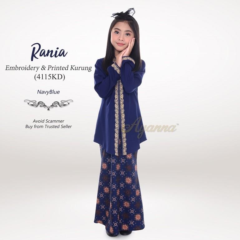 Rania Embroidery & Printed Kurung 4115KD (NavyBlue)