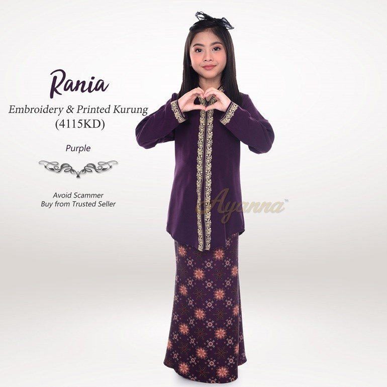 Rania Embroidery & Printed Kurung 4115KD (Purple)