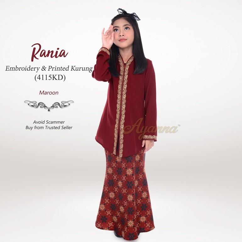 Rania Embroidery & Printed Kurung 4115KD (Maroon)