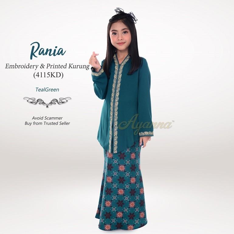 Rania Embroidery & Printed Kurung 4115KD (TealGreen)
