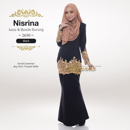 Nisrina Lace & Beads Kurung 2650 (Black)