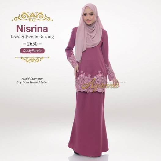Nisrina Lace & Beads Kurung 2650 (DustyPurple)