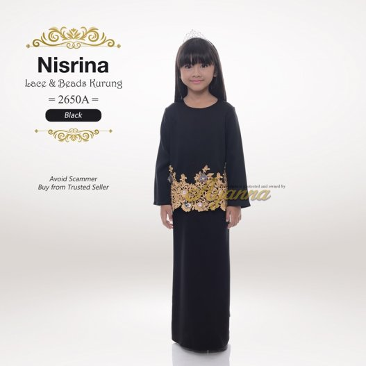Nisrina Lace & Beads Kurung 2650A (Black)