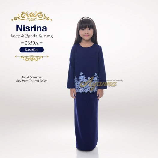 Nisrina Lace & Beads Kurung 2650A (DarkBlue)