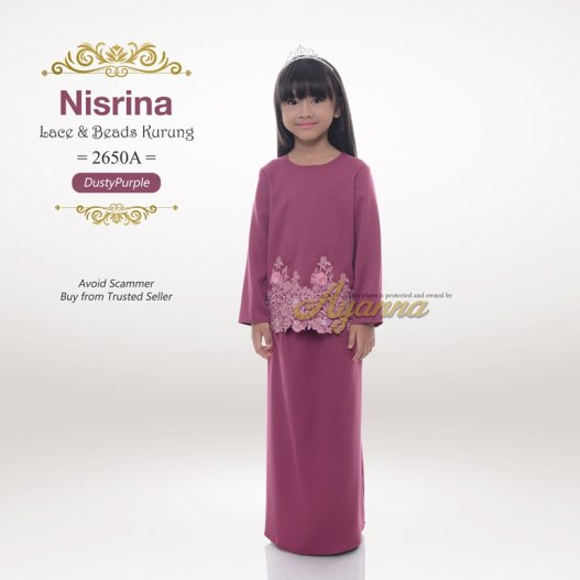 Nisrina Lace & Beads Kurung 2650A (DustyPurple)