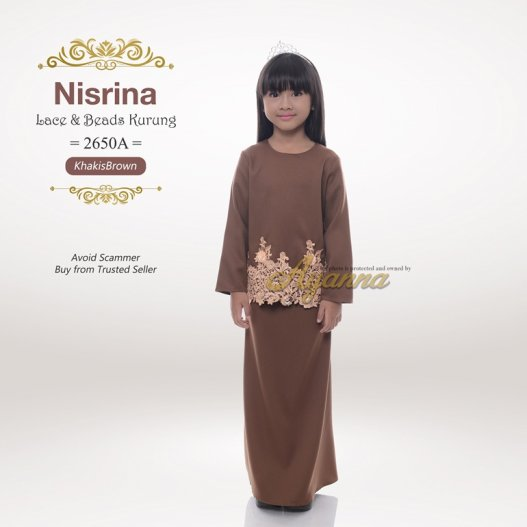 Nisrina Lace & Beads Kurung 2650A (KhakisBrown)