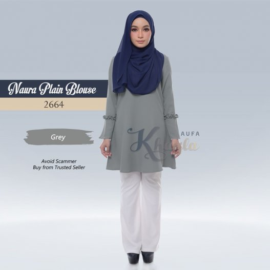 Naura Plain Blouse 2664 (Grey)