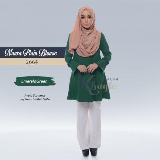 Naura Plain Blouse 2664 (EmeraldGreen)