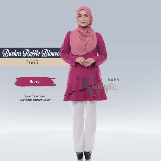 Bushra Ruffle Blouse 2665 (Berry)