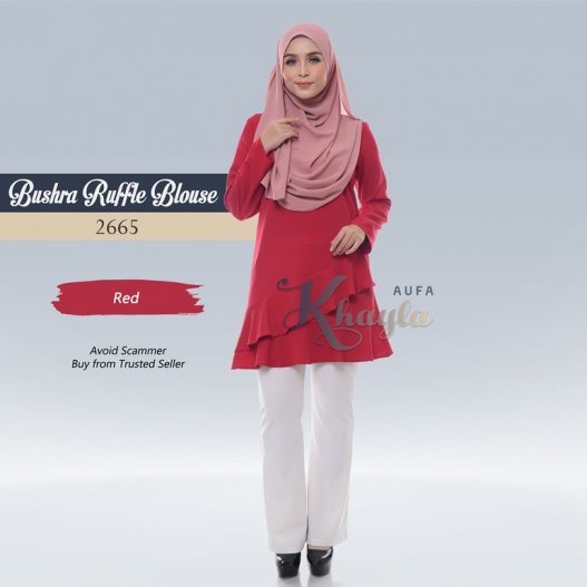 Bushra Ruffle Blouse 2665 (Red)