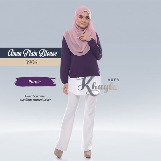 Ainun Plain Blouse 3906 (Purple)