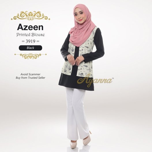 Azeen Printed Blouse 3919 (Black)
