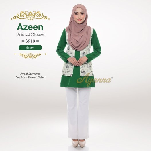 Azeen Printed Blouse 3919 (Green)